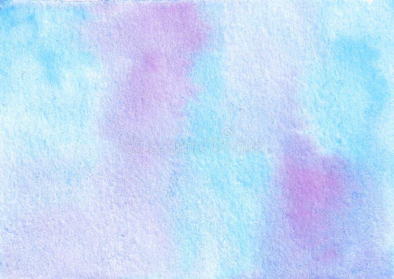 Wręcza patroszonego akwareli błękitnego i purpurowego textured abstrakcjonistycznego tło royalty ilustracja