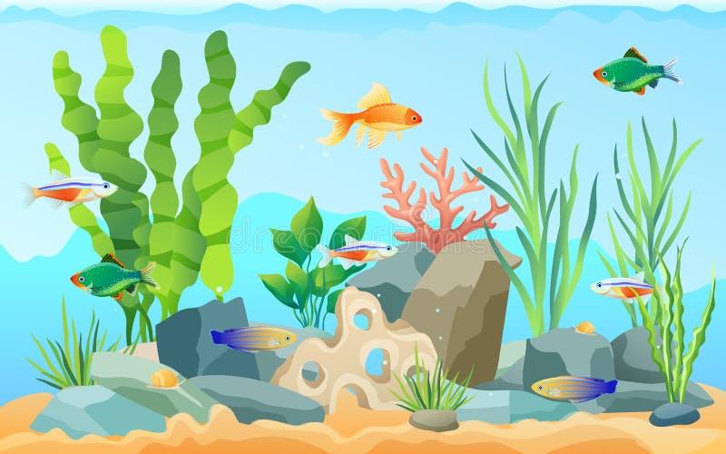 Wręcza patroszonego akwarium z ryby i gałęzatki ikonami ilustracji