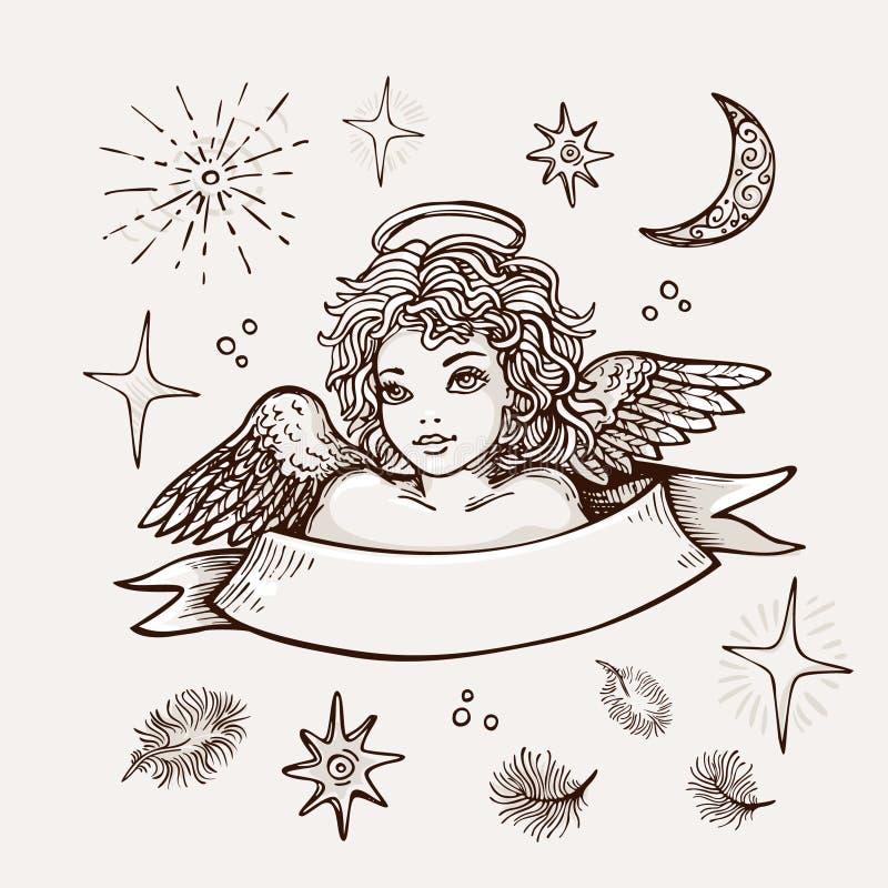 Wręcza patroszonego anioła, religijny symbol chrystianizmu realistyczny wektorowy nakreślenie ilustracji