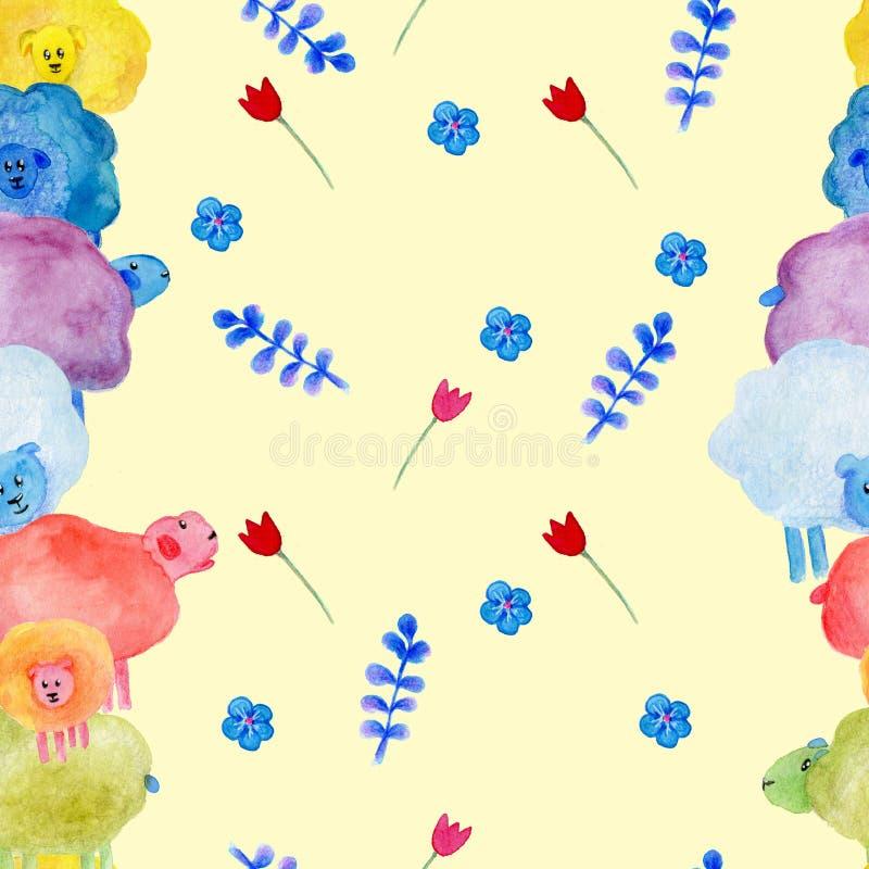 Wręcza patroszonego bezszwowego wzór z akwareli ślicznymi sheeps, kwiatami i gwiazdami ilustracyjnymi, ilustracji