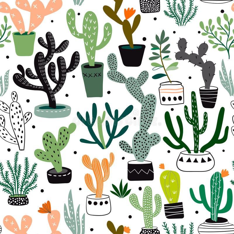 Wręcza patroszonego bezszwowego wzór z kaktusami i sukulentami, wektorowy projekt royalty ilustracja