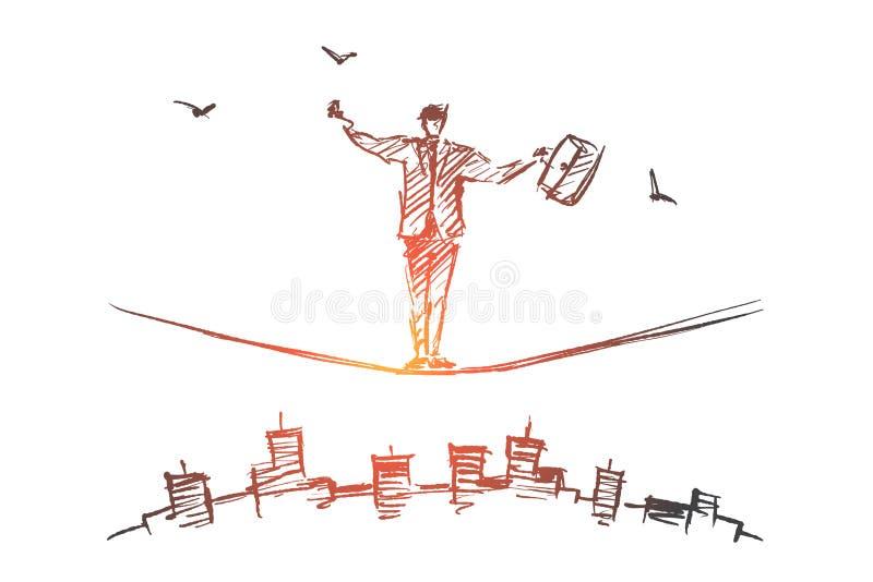 Wręcza patroszonego biznesmena równoważenie na arkanie nad miastem ilustracja wektor