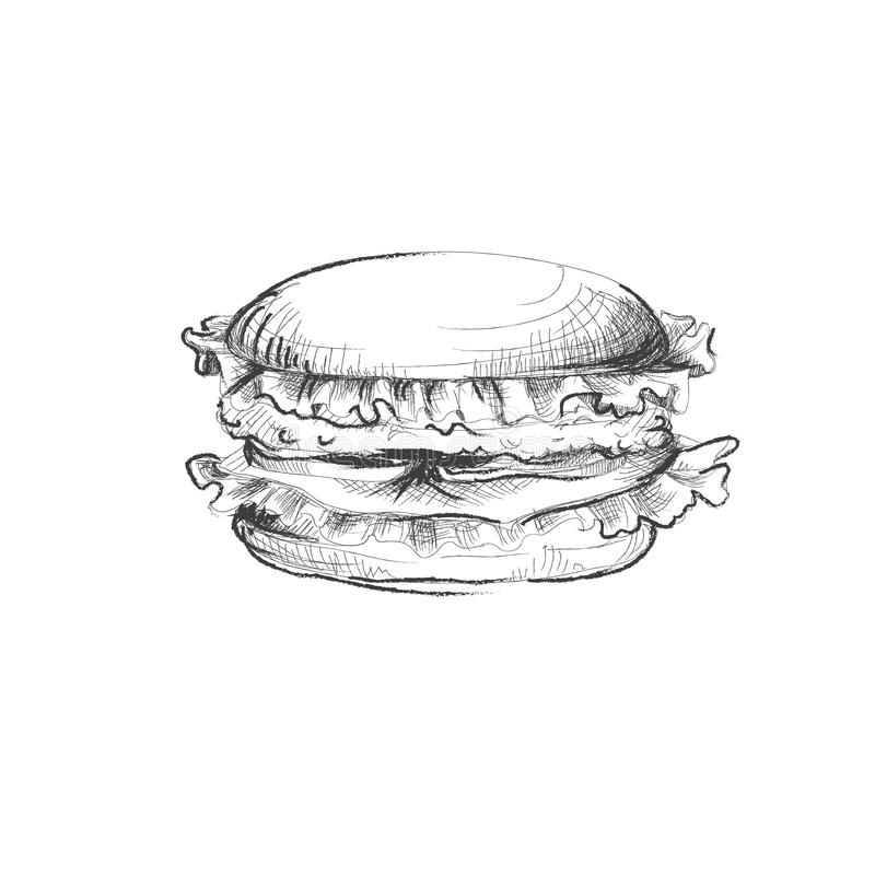 Wręcza patroszonego burder z pomidorem, ser, mięsny nakreślenie ilustracji