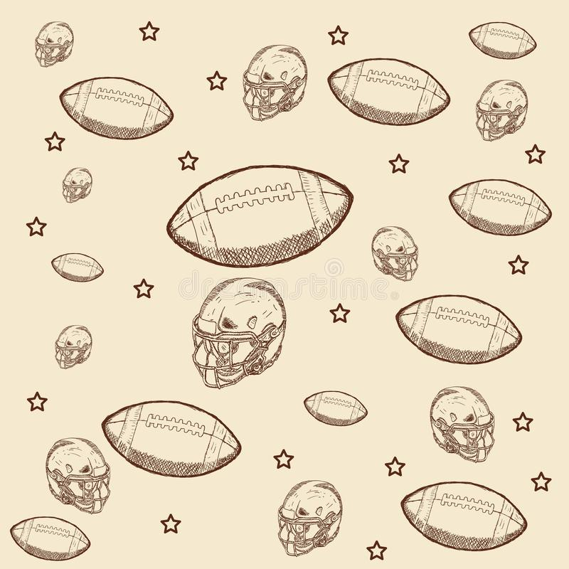 Wręcza patroszonego hełm, rugby piłka z gwiazdowym illustrattion royalty ilustracja