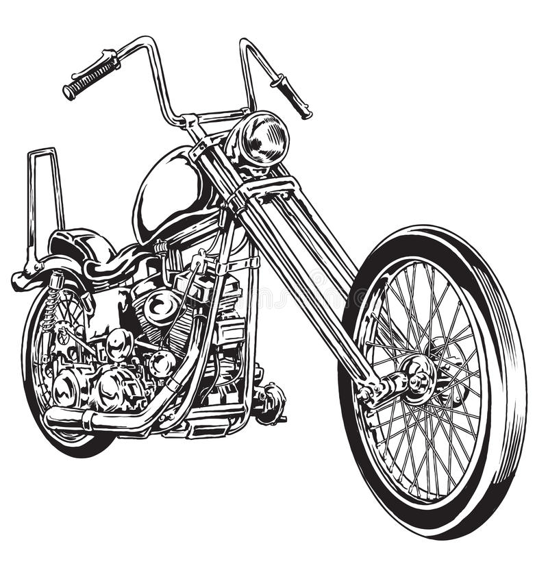 Wręcza patroszonego i inked rocznika Amerykański siekacza motocykl royalty ilustracja