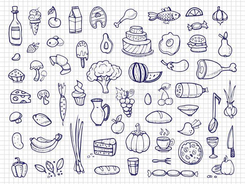 Wręcza patroszonego jedzenie, warzywa, napoje, przekąski, fasta food doodle wektoru ikony royalty ilustracja