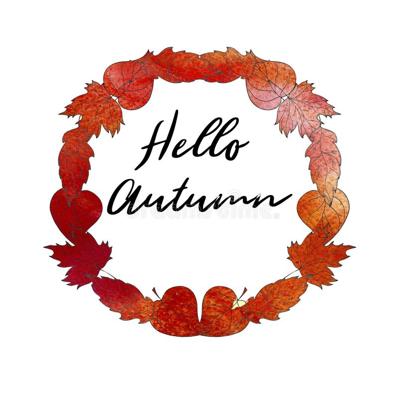 Wręcza patroszonego jesień wianek z dębem i liśćmi klonowymi Tekst A Cześć ilustracja wektor