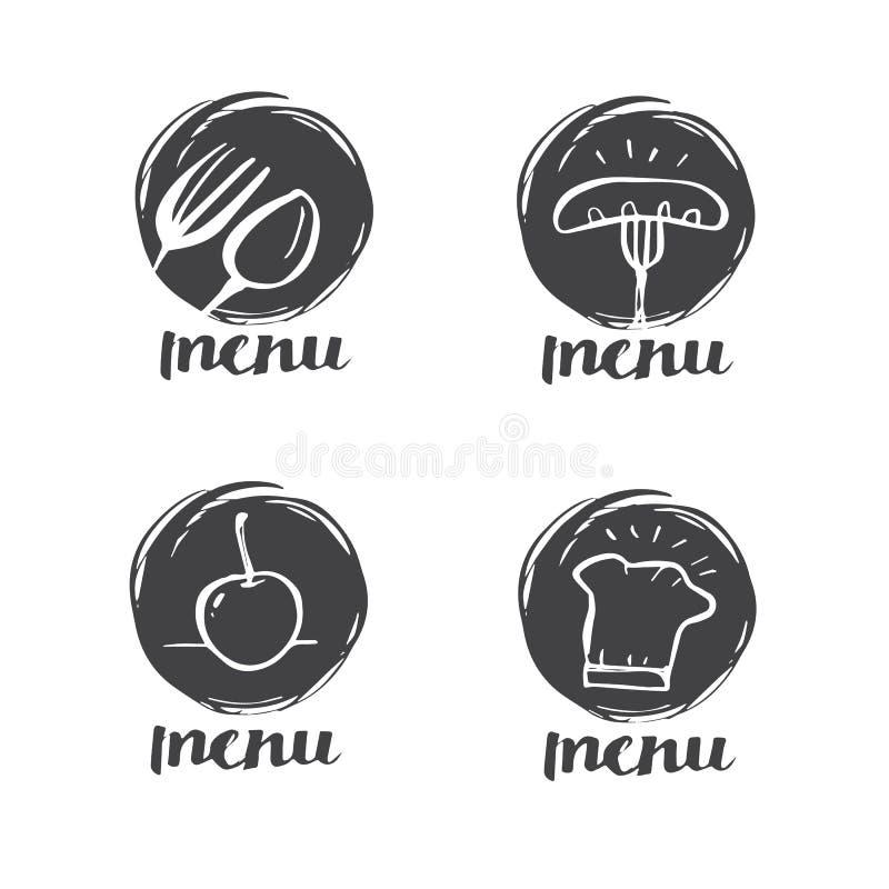 Wręcza patroszonego kaligrafii kucharstwo, kuchnia loga, ikonę i etykietkę, royalty ilustracja