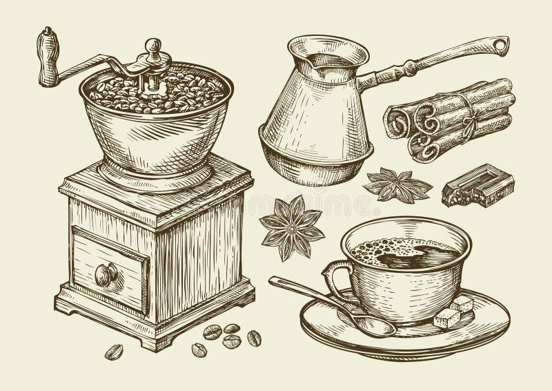 Wręcza patroszonego kawowego ostrzarza, filiżanka, fasole, gwiazdowy anyż, cynamon, czekolada, cezve, napój Nakreślenie wektoru i ilustracja wektor