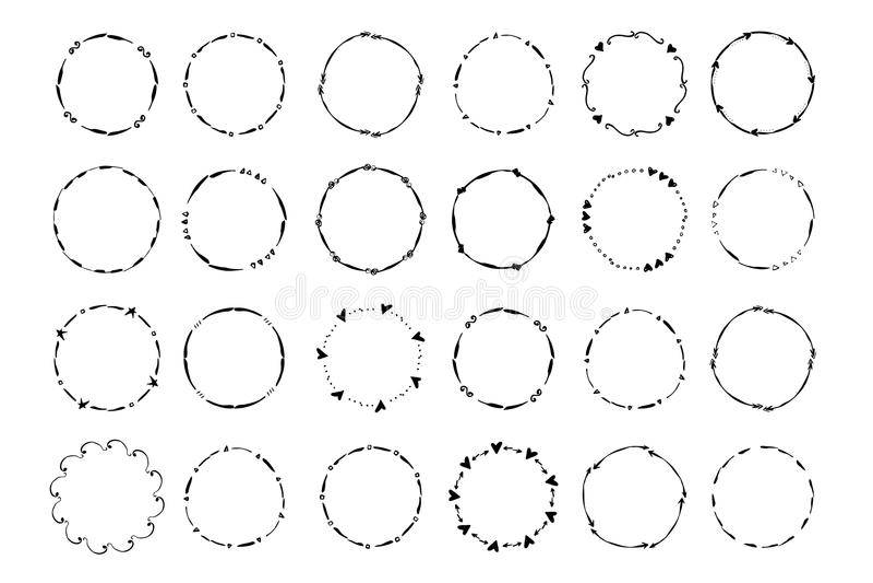 Wręcza patroszonego kreatywnie okrąg dla loga, etykietka, oznakuje ilustracji