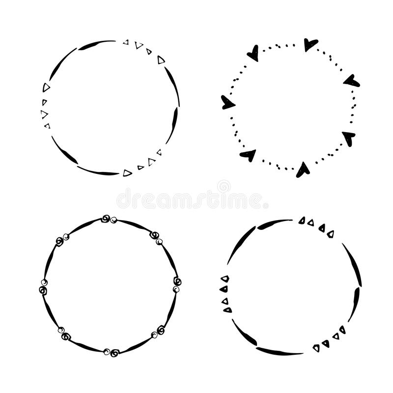 Wręcza patroszonego kreatywnie okrąg dla loga, etykietka, oznakuje ilustracja wektor