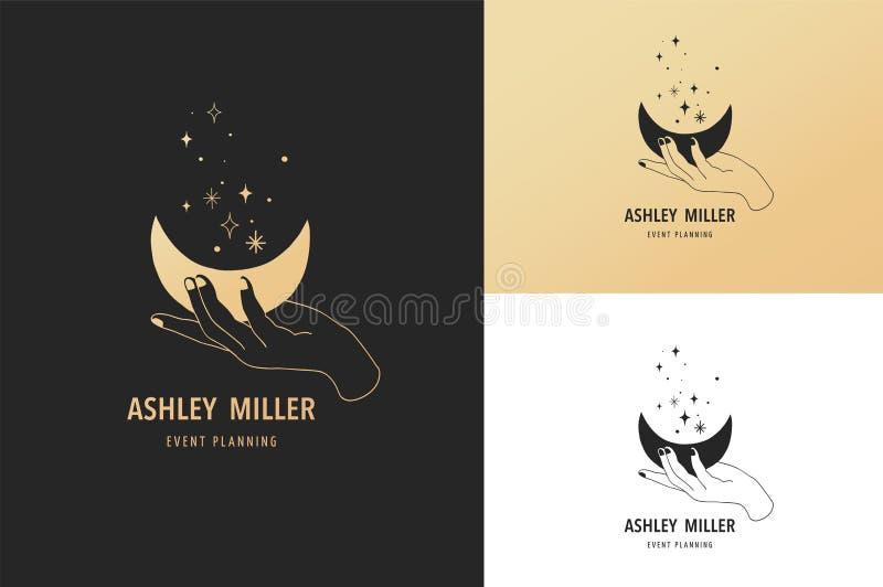 Wręcza patroszonego logo i ikonę ręka trzyma księżyc Ezoteryk, tajemnicy ilustracja, doodle i nakreślenie, ilustracja wektor
