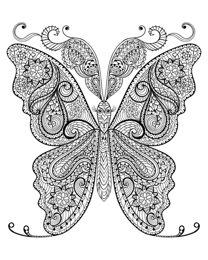 Wręcza patroszonego magicznego motyla dla dorosłej antej stres kolorystyki strony royalty ilustracja