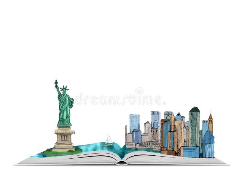 Wręcza patroszonego Miasto Nowy Jork i statuę wolności w otwartej książce, odosobnionej na białym tle obrazy royalty free