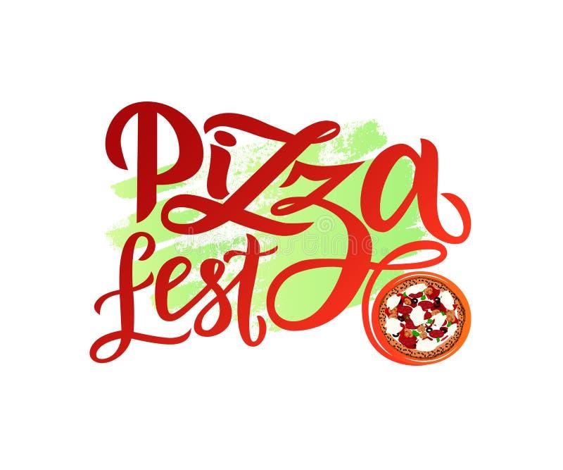 Wręcza patroszonego nowożytnego kaligrafii literowania pizzy Fest z ilustracją pizza na akwarela punkcie ilustracja wektor
