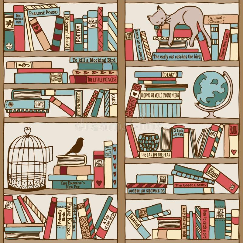 Wręcza patroszonego półka na książki z sypialnym kotem & birdcage royalty ilustracja
