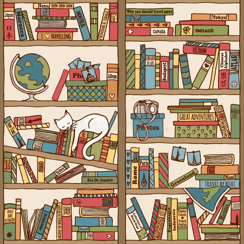 Wręcza patroszonego półka na książki z sypialnymi kota & podróży książkami ilustracja wektor
