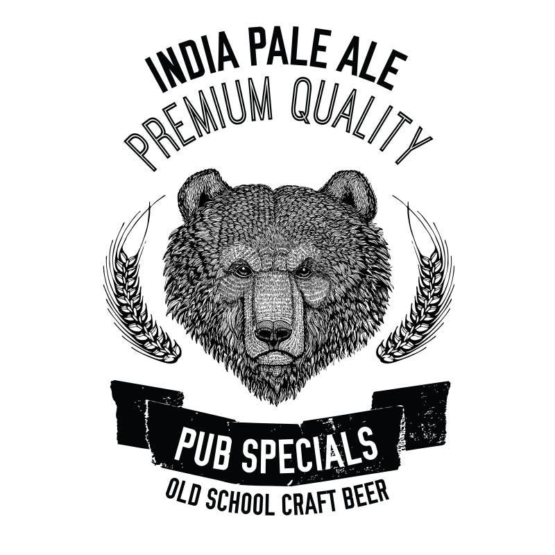 Wręcza patroszonego piwnego emblemat z brown niedźwiedziem dla logotypu, odznaka, menu pokrywa royalty ilustracja