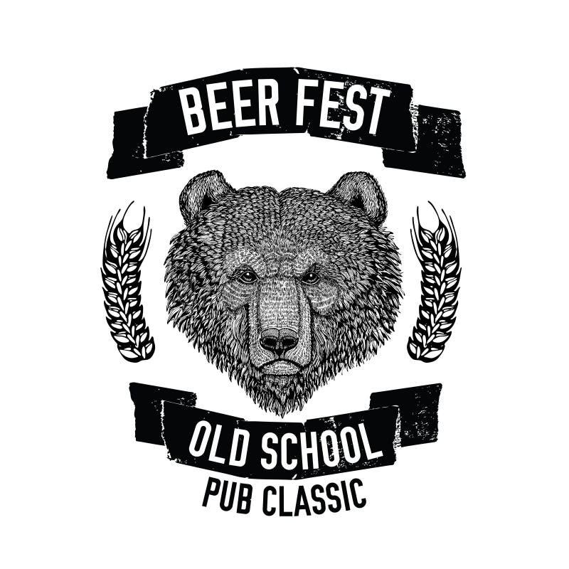 Wręcza patroszonego piwnego emblemat z brown niedźwiedziem dla logotypu, odznaka, menu pokrywa ilustracji