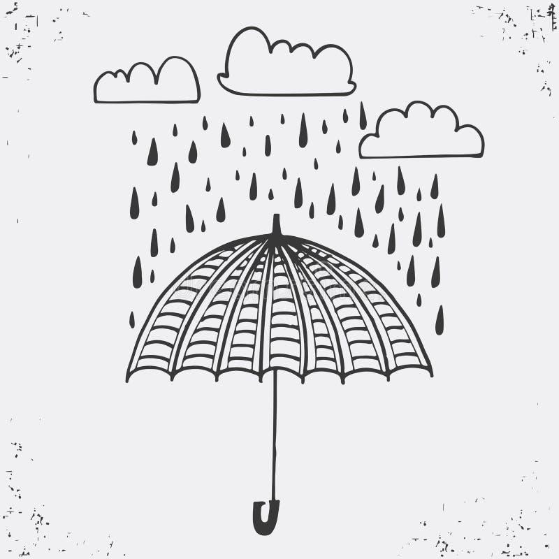 Wręcza patroszonego plakat z parasolem, chmurami i raindrops, Elegancki typograficzny plakatowy projekt Używać dla kartka z pozdr royalty ilustracja