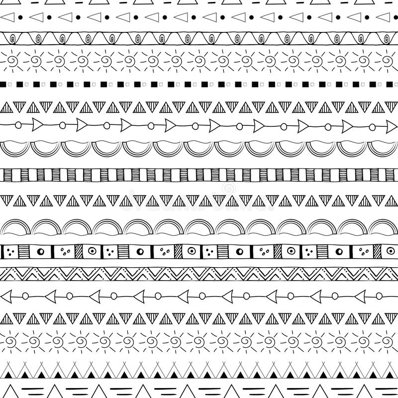 Wręcza patroszonego plemiennego bezszwowego deseniowego czerń na białym tle royalty ilustracja