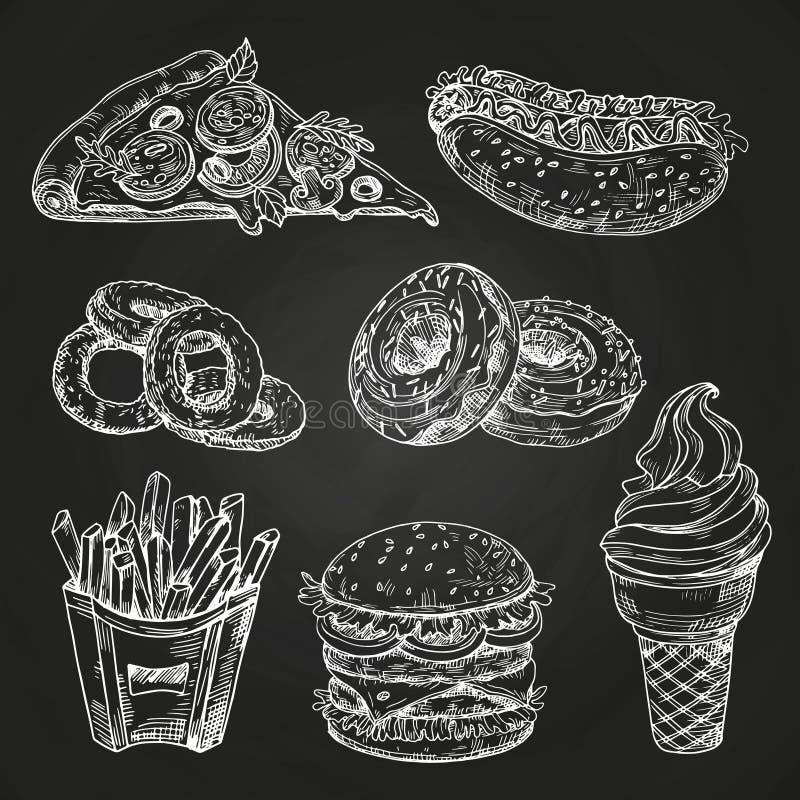 Wręcza patroszonego popularnego fast food na blackboard wektoru ilustracji ilustracja wektor