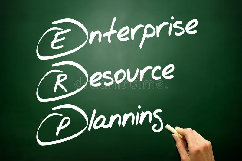Wręcza patroszonego przedsięwzięcie zasoby planowania biznesowego pojęcie o (ERP) zdjęcie stock