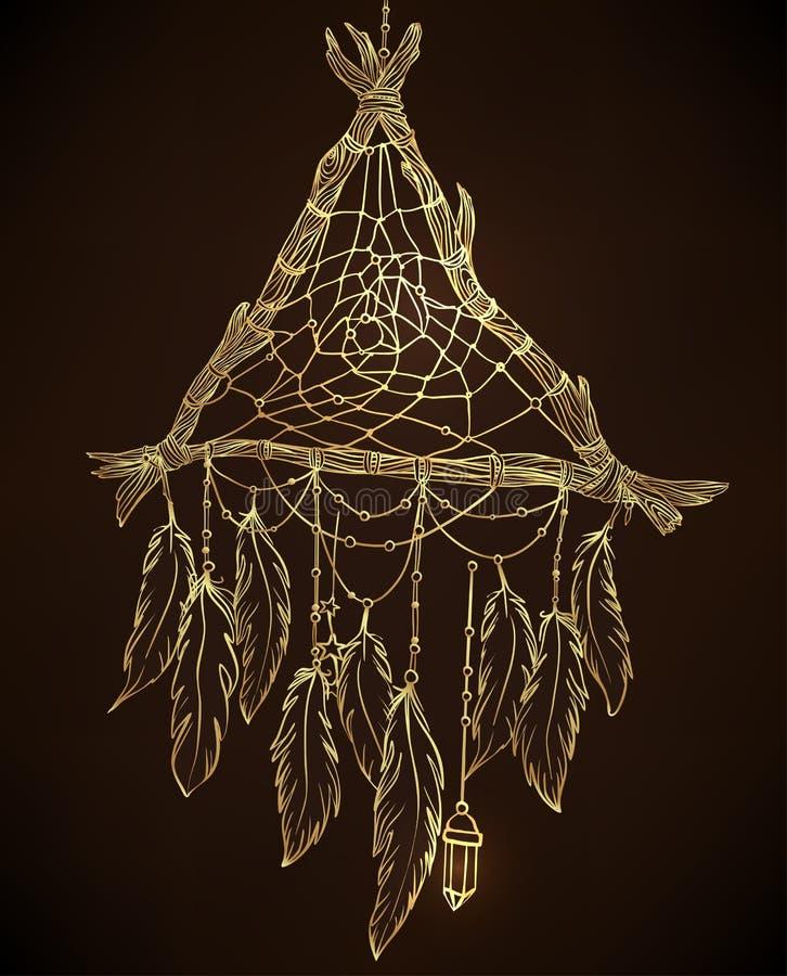 Wręcza patroszonego rysunek kształtujący dreamcatcher z feathe ilustracja wektor