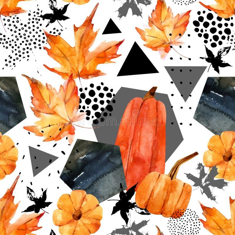 Wręcza patroszonego spada liść, doodle, wodny kolor, skrobanin tekstury dla spadku projekta ilustracja wektor