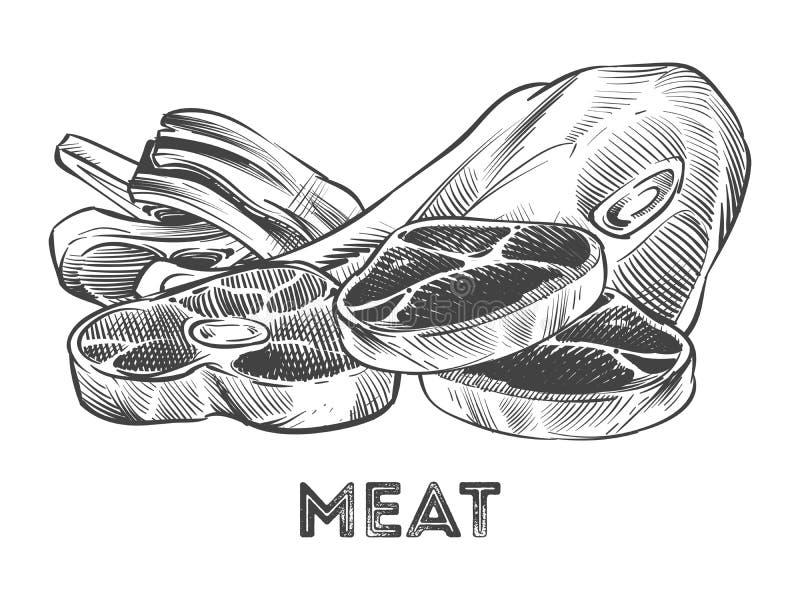 Wręcza patroszonego stek, ziobro, świeży mięso odizolowywający na bielu ilustracji
