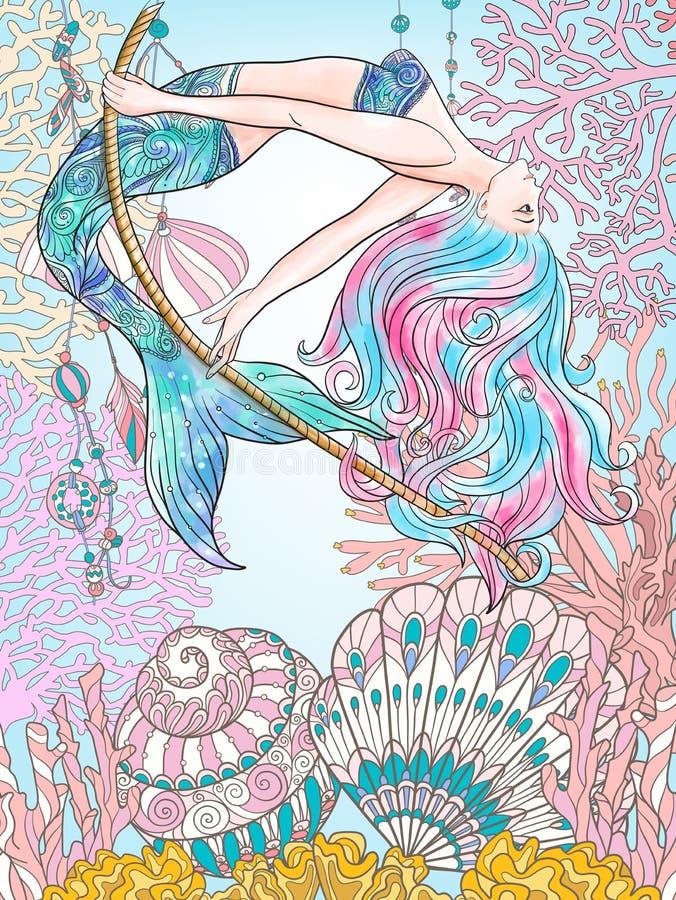 Wręcza patroszonego syrenki chlanie na arkanie w podwodnym świacie Pościel c royalty ilustracja
