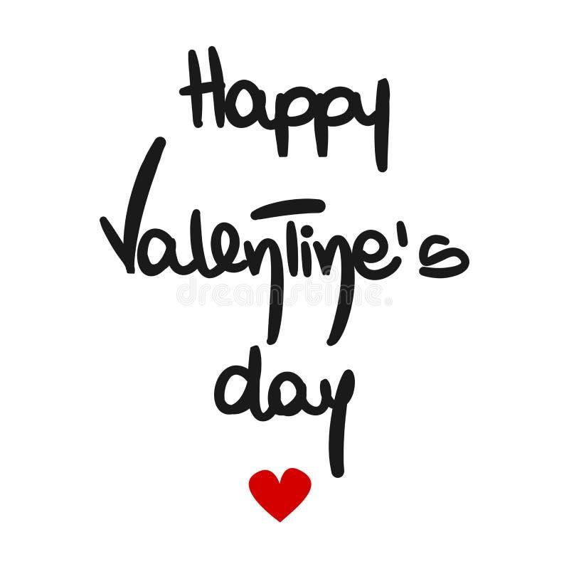 Wręcza patroszonego szczęśliwego valentine dnia literowania wektorowego tekst z czerwonym sercem royalty ilustracja