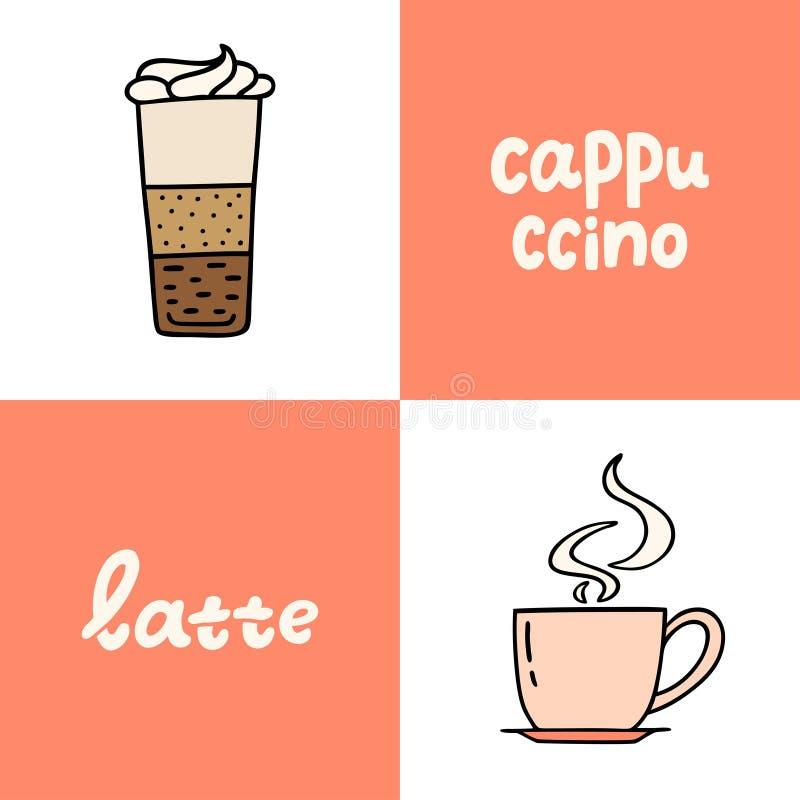 Wręcza patroszonego szkło latte, filiżanka cappucino Kolekcja coffe ilustracji