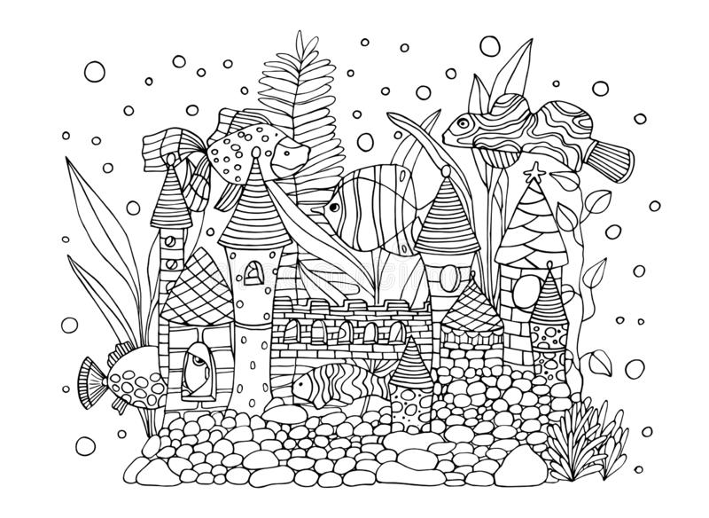 Wręcza patroszonego tło atrament z rybą w akwarium Wektorowe rysunkowe czarny i biały ilustracje mogą używać dla ilustracja wektor