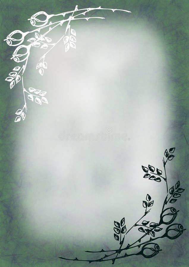 Wręcza patroszonego textured kwiecistego tło w pastelowych zielonych kolorach z różą i liśćmi royalty ilustracja