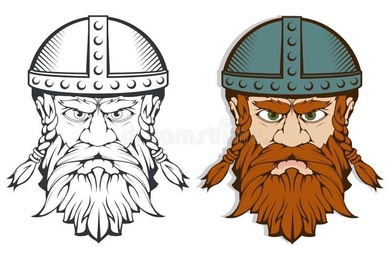Wręcza patroszonego Viking w hełmie Skandynawskie tradycyjne bronie Kreskówka mężczyzna brodaty charakter Viking tatuaż tradycyjn ilustracji