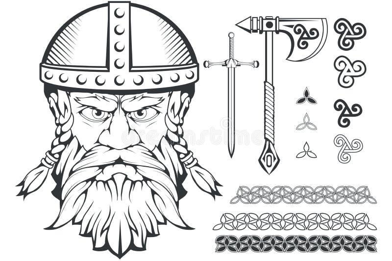 Wręcza patroszonego Viking w hełmie Skandynawskie tradycyjne bronie Kreskówka mężczyzna brodaty charakter Viking tatuaż tradycyjn ilustracja wektor