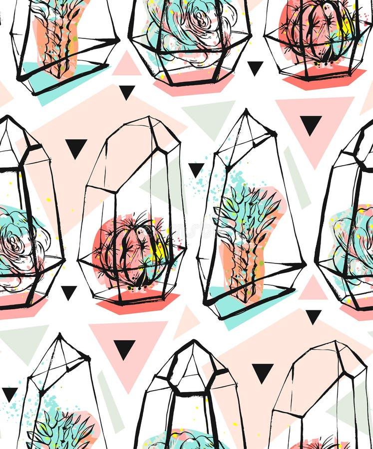 Wręcza patroszonego wektorowego abstrakcjonistycznego bezszwowego wzór z szorstkimi terrarium i sukulentu roślinami w pastelowych ilustracji
