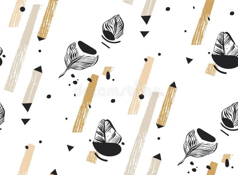 Wręcza patroszonego wektorowego abstrakcjonistycznego freehand textured bezszwowego tropikalnego deseniowego kolaż z geometryczny royalty ilustracja