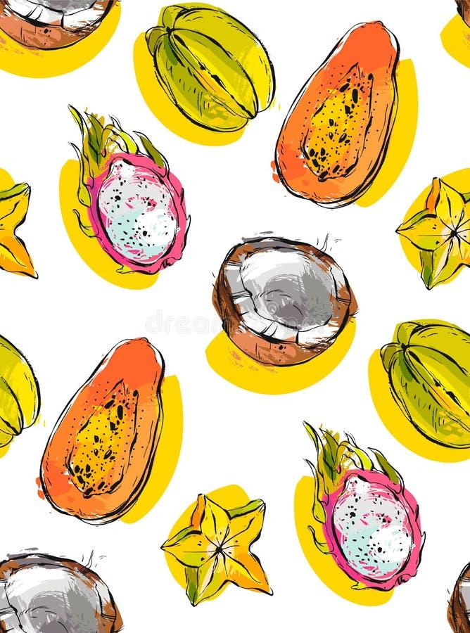 Wręcza patroszonego wektorowego abstrakcjonistycznego freehand textured niezwykłego bezszwowego wzór z egzotycznym tropikalnych o ilustracji