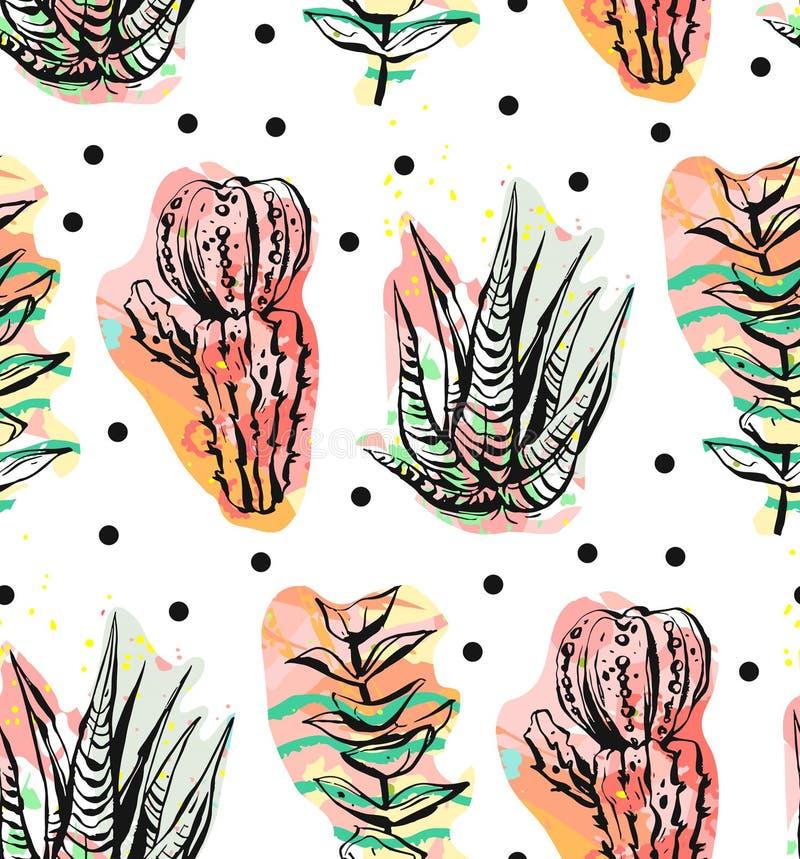 Wręcza patroszonego wektorowego abstrakcjonistycznego graficznego kreatywnie sukulentu, kaktusa i rośliien bezszwowego wzór na po royalty ilustracja