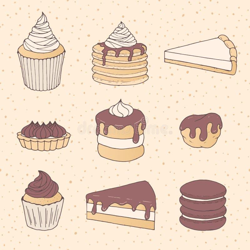 Wręcza patroszonego wektorowego ciasto ustawiającego z tortem i pasztetowymi kawałkami, babeczki, ilustracja wektor