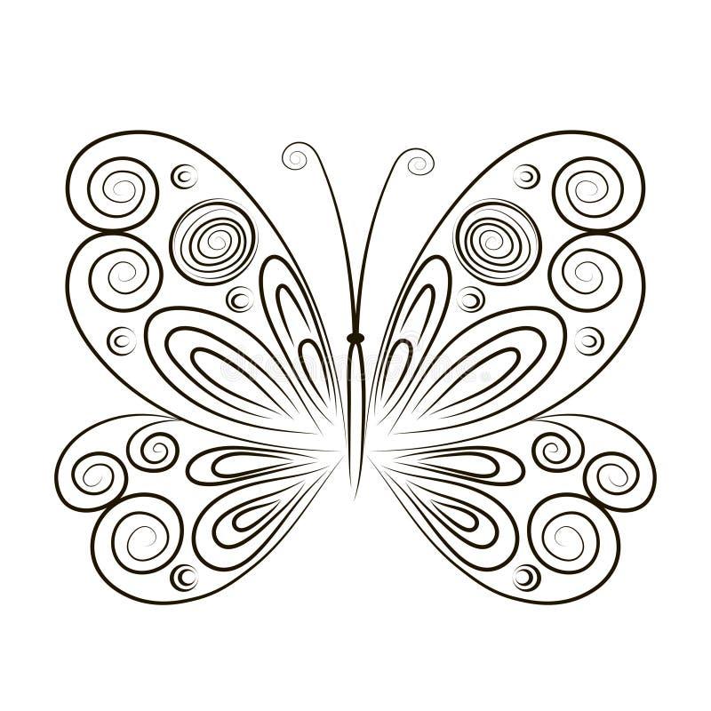 Wręcza Patroszonego wektorowego ilustracyjnego motyla na białym tle Nakreślenie dla tatuażu Czarny kontur dla barwić royalty ilustracja