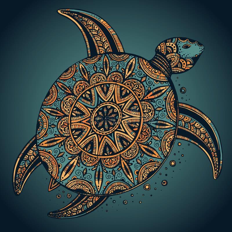 Wręcza patroszonego wektorowego kolorowego doodle żółwia z orientalnym ornamentem royalty ilustracja