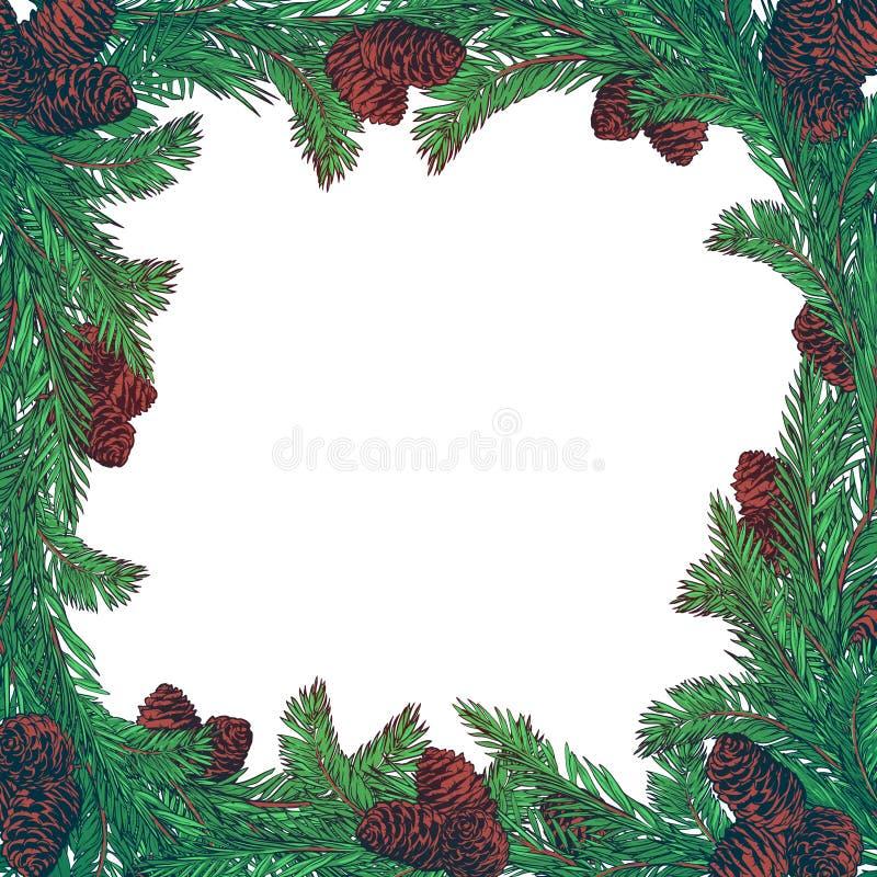 Wręcza patroszonego wianek z jedlinowymi gałąź i rożkami Kwadratowa rama dla kartki bożonarodzeniowa zimy projekta ilustracji