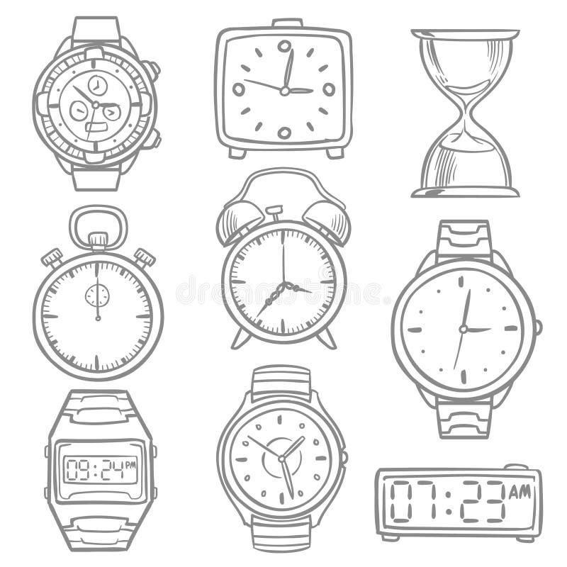 Wręcza patroszonego wristwatch, doodle nakreślenia zegarki, budziki i timepiece wektoru set, ilustracji