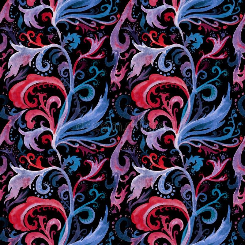 Wręcza patroszonej abstrakcjonistycznej akwareli bezszwowego wzór z czerwienią, błękitem i lilym kwiecistym ornamentem, kędziory, ilustracji