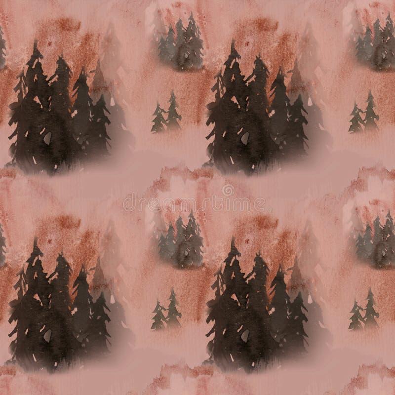 wręcza patroszonej akwareli bezszwowego wzór w mgła lesie royalty ilustracja