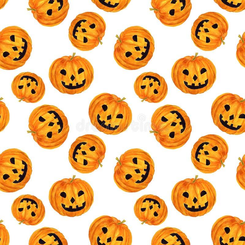 Wręcza patroszonej akwareli Halloweenowego bezszwowego wzór z pampkin ilustracji