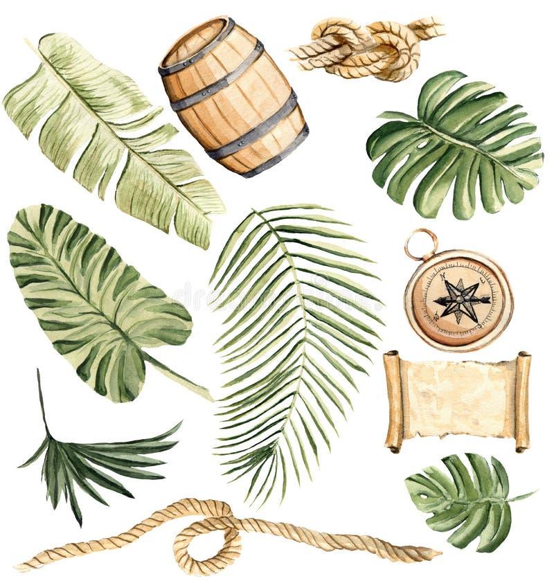 Wręcza patroszonej akwareli ilustracyjnego tropikalnego set odosobniony elem royalty ilustracja